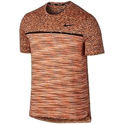 Nike M Nkct Dry Chllgr Top Ss Camiseta de Tenis, Hombre, Multicolor (Tart/Black), L