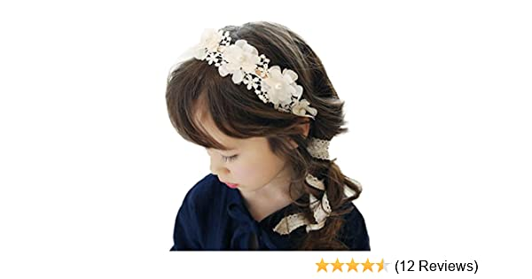 VENMO Girls Hairband Headdress Hair Accessories Baby Girls Pearl Flower Headband White