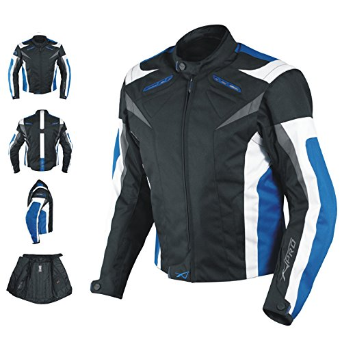 A-Pro Motorcycle Jacket CE Armored Textile Motorbike Racing Thermal Liner Blue M