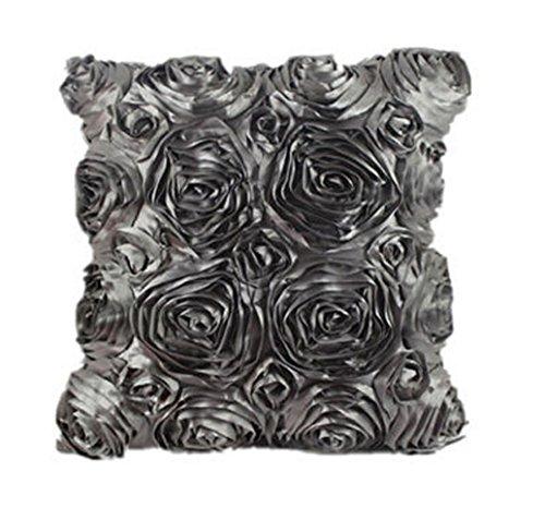 Tonsee Elegante 3D Rose Stickerei Satin Stoff Kissen Fällen Kissen Startseite (grau)