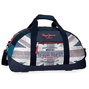 51NFCQ8sYKL. SS300  - Pepe Jeans Ian Bolso de Viaje, 50 cm, Azul