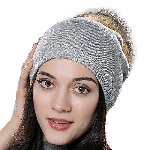 URSFUR Unisex Weiche Wolle Mütze Strickmütze Kappen mit Fellbommel aus Waschbär Fell - hellgrau
