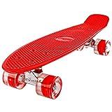 FunTomia Mini-Board 57cm Skateboard mit Oder Ohne LED Leuchtrollen inkl. Aluminium Truck und Mach1 ABEC-11 Kugellager in Verschiedenen Farben zur Auswahl T-Tool (Deck in rot2 / Rollen in Rot mit LED)