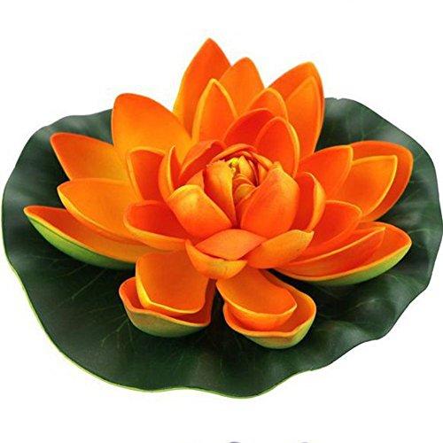 Jarown 4 pièces en mousse Fleur de Lotus Artificielle Nénuphar flottant Fleurs Faux Feuilles plantes pour bassin d'aquarium Décor, PU, Orange, 18 cm