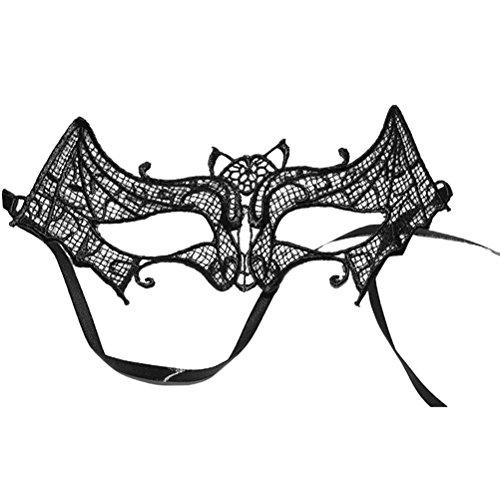 Tinksky Lace Masquerade Maske Bat Eyemask Augenmaske Schwarz Halloween Lace Maske Dance Club Augenmuschel (Fledermaus)