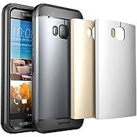 HTC One M9, SUPCASE impermeabile, robusto e Full-body con proteggi-schermo incorporato per HTC One M9 Hima, con 3 cover intercambiabili,, imballaggio da vendita al dettaglio, Space, colore: grigio/argento/oro
