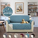 Waterproof Slipcover Reversible Quilted Furniture Protector, Improved Anti-Slip with Elastic Straps and Foams Slipcovers for Dogs/Cats – 46'' x 75'' Citadel