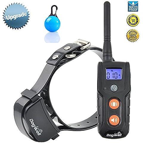 [Nueva versión] Dogwell Wireless recargable e impermeable efectiva, sin dolor y humanamente perro Collar del entrenamiento con tono seguro y fuertes vibraciones, NO descarga