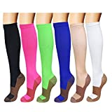 6 Pack Copper Knee High Compression Support Socks For Women and Men - Best Medical, Nursing, Maternity Pregnancy and Travel Socks - 15-20mmHg (Six color, L/XL)