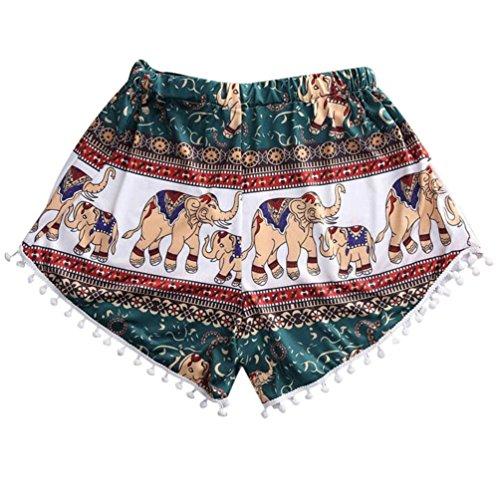 n Laufende Hosen,ABsoar Heiß ! Frauen heiße Sommer Casual bedruckte Quaste kurze Kurzer Mini Heiß Shorts Strand Hosen Hohe Taille Frauen Hot Pants (L, Mehrfarbig) ()