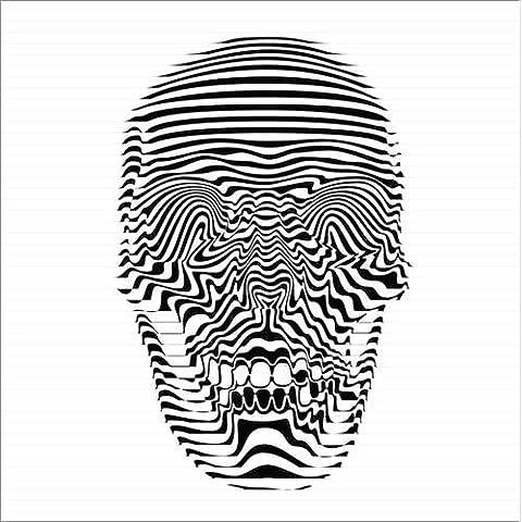 Stampa su legno 80 x 80 cm: Skull op art