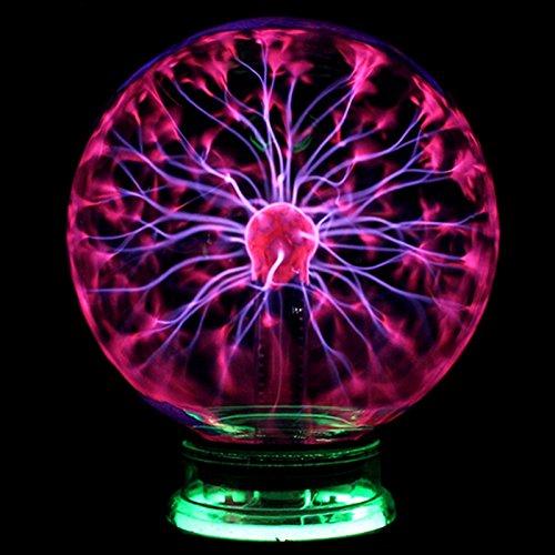Desinger Neuheit Glas Magie Plasma Statische Elektrizität Ball Licht 4 5 6 Zoll Tischleuchten Kugel Nachtlicht Kinder Geschenk Für Magische Plasma Blitz Nachtlampe (Größe : 6 Inch) (Neuheit Gläser)