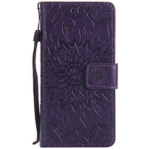 Nancen Compatible with Handyhülle Sony Xperia Z5 Hülle,Leder Wallet Tasche Brieftasche Schutzhülle, Prägung Sonnenblume Muster