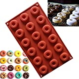 Fatalom Silikonform mit 18 Löchern, 29 x 17 x 1 cm, für Donut, Backen, Kuchen, Schokolade, Kekse, Süßigkeiten