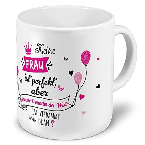 XXL Riesen-Tasse mit Namen die beste Freundin der Welt - Motiv 'Nicht Perfekt, aber...' -...