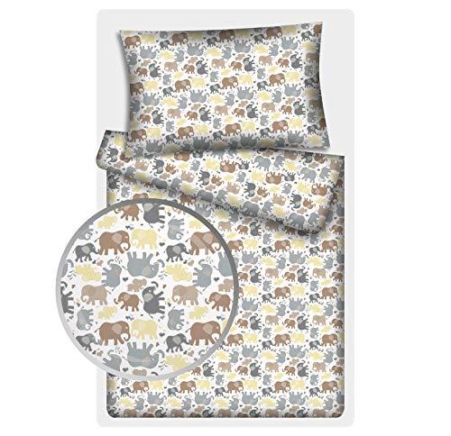 Kinderbettwäsche Elefanten 2-tlg. 100% Baumwolle 40x60 + 100x135 cm mit Reißverschluss (pastell)