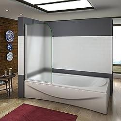 Pare baignoire 80x140cm en verre anticalcaire et sablé pivotant à 180°AICA pare-baignoire simple
