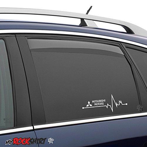2 x Herzschlag Aufkleber 20x7 cm Mitsubishi für Scheibe, Lack, Hochleistungsfolie, UV& Waschanlagenfest`+ Bonus Testaufkleber
