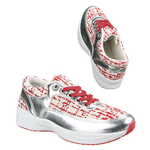 Damen Schuhe, W-67, FREIZEITSCHUHE Rot Silber
