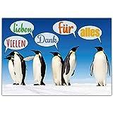 A4 XXL Dankeskarte PINGUINE mit Umschlag - Premium Klappkarte geeignet für alle Anlässe wie Geburtstag Hochzeit Jubiläum Danke Karte von BREITENWERK