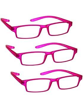 La Compañía Gafas De Lectura Matt Rosa Cuello Specs Lectores Valor Pack 3 Mujeres Señoras Inc Caso UVR3PK021PK...