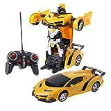 Exing Transformers Voiture télécommandée électrique Voiture de Course sur Route télécommandée à Grande Vitesse Voiture RC Robots Enfants Jouets Cadeaux Enfants (Jaune)