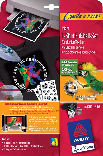 Avery Zweckform T-Shirt Transfer-Folie für Tintenstrahldrucker für dunkle Baumwoll-Textilien 5 Blatt ; Aktion: Fußballpunkte sammeln