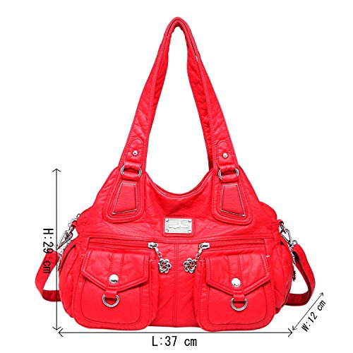 Angelkiss 3 Top Cerniere multi tasche Borse Lavato borse in pelle borse a spalla zaino 1593/2 Rosso
