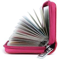 Tarjeteros Mujer Piel Tarjeteros para Tarjetas de Credito Cuero (Rosa)