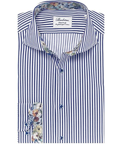 Stenstroms Hommes chemise rayée Bleu Bleu