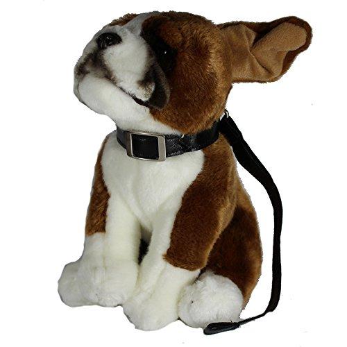 Uni-Toys Plüschtiere, Stofftiere, Kuscheltiere ca. 25 - 35 cm (Boxer mit Leine, braun-weiß) -