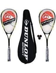 2 x Dunlop Biotec Max Ti Squash Racketts - 3 Squashbälle