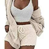 Ohyoulive Plush Plain Color 3-Piece Set - Fluffy Hooded Long Sleeves Coat Open Front Shorts Vest Set for Women Winter Stylish and Comfortable Home Clothes (Coat, Vest and Shorts)
