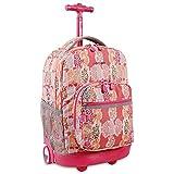Best Rolling Back Packs - J World New York Sunrise Rolling Backpack, Pink Review
