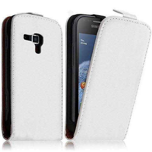 HQ-CLOUD Etui Housse Cuir vertical pour Samsung Galaxy Trend S7560 - Blanc- Un film Offert
