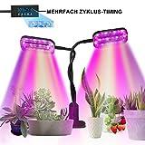 SKEY Pflanzenlampe, 48 LED Pflanzenlicht mit Loop-Automatik-Timer, Automatische EIN- / Ausschalten, 5 Arten von Helligkeit, 24W Wachsen licht led Pflanzenleuchte Wachstumslampe Überwinterung