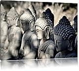 Meditierende Buddha-Statuen in einer Reihe, Format: 120x80 auf Leinwand, XXL riesige Bilder fertig gerahmt mit Keilrahmen, Kunstdruck auf Wandbild mit Rahmen, günstiger als Gemälde oder Ölbild, kein Poster oder Plakat
