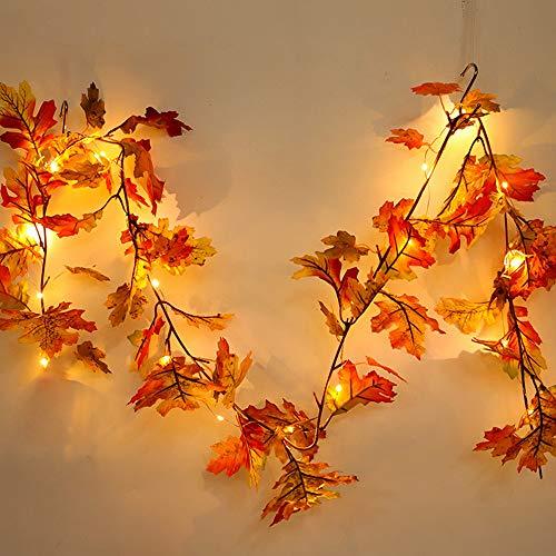 LED Ahornblatt dekorative Rattan Halloween 1,5 M Licht Herbst Kürbis Maple Leaf Garland Dekoration, halloween deko dekoration garten kürbis mit geräusche kinder außen hexe (1.5M)