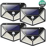 Lampe Solaire Extérieur iPosible【Version Puissante 4 Pack】100 LED 2200 mAh éclairage Extérieur étanche 270° lumière Solaire Détecteur de Mouvement 180 ° Spot Solaire Applique Solaire pour Jardin