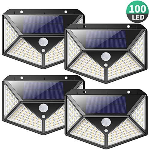 Solarlampen für Außen,【2200mAh Super Energiesparend】iPosible 100LED Solarleuchte mit Bewegungsmelder 270 °Vierseitige Beleuchtung Solar Wasserdichte Wandleuchte Solar Aussenleuchte für Garten- 4 Stück