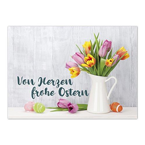 15 x Postkarten zu Ostern mit Umschlägen im Set / Osterkarten modern Von Herzen frohe Ostern / Osterpostkarten