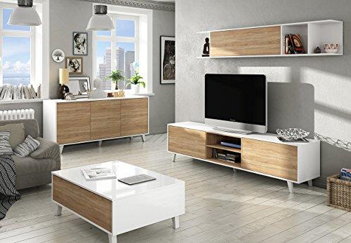 Mesa de centro elevable estilo n rdico con compartimentos - Muebles salon estilo nordico ...