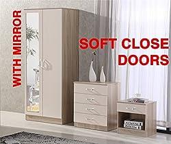 Fairpak Gladini High Gloss Mirrored 3 Piece Bedroom Furniture Set - Includes Wardrobe, 4 Drawer Chest, Bedside Cabinet - (Cream/Oak)