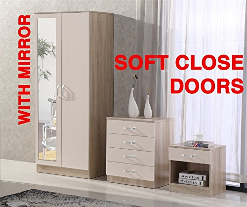 Gladini High Gloss Mirrored 3 Piece Bedroom Furniture Set - Includes Wardrobe, 4 Drawer Chest, Bedside Cabinet - (Cream/Oak)