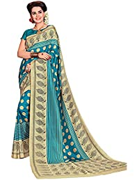 DESIGN WILLA Trendy New Collection Women's Art Silk Saree With Blouse Piece(sky Blue With The Combination Of Cream)