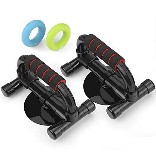 INTEY Liegestützgriffe 2 Push Up Stand Bars Fitness Liegestütze mit Anti-Rutschen Griffe, inkl. 2 Stück Silikon Handtrainer Ring als Griffkraft Trainer, Schwarz/Rot