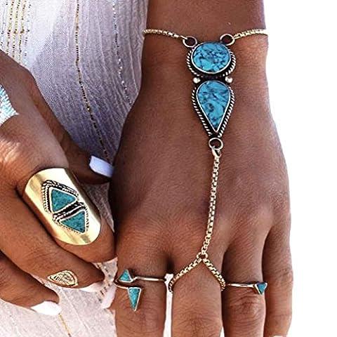 Oyedens 1pc Turquoise Bijoux BohèMe Ethnique Vintage Argent PièCe Bracelet Anklet
