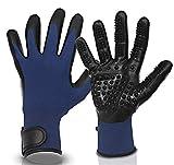 Pets kingdom Premium Fellpflege Handschuhe für Hunde und Katzen - Tierbürste zur angenehmen Massage + Pflege Ihrer Haustiere - Hundebürste Katzenbürste Massagehandschuh (Blau)