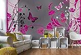 Wallsticker Warehouse Muster Blumen Schmetterlinge Natur Fototapete - Tapete - Fotomural - Mural Wandbild - (885WM) - XXXL - 416cm x 254cm - VLIES (EasyInstall) - 4 Pieces