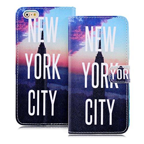 GrandEver Custodia PU Leather Case per iPhone 6 Plus (5.5 pollici) Cassa in Pelle Elegante Borsa Wallet Case Book-style Cover Flip Caso Folio Shell Bumper Morbido Silicone Back Fashion Design-New York City